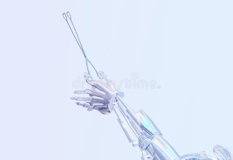 Εργαλείο χειρουργικών επεμβάσεων εκμετάλλευσης χεριών ρομπότ χειρούργων Ρομποτική έννοια χειρουργικών επεμβάσεων Ρομποτική τρισδι διανυσματική απεικόνιση