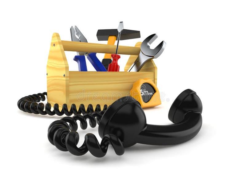 Εργαλειοθήκη με το τηλεφωνικό μικροτηλέφωνο ελεύθερη απεικόνιση δικαιώματος