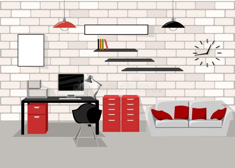 Εργασίας θέσεων σύγχρονη γραφείων εσωτερική επίπεδη έννοια εργασιακών χώρων έννοιας εργασιακών χώρων γραφείων υπολογιστών απεικόν διανυσματική απεικόνιση