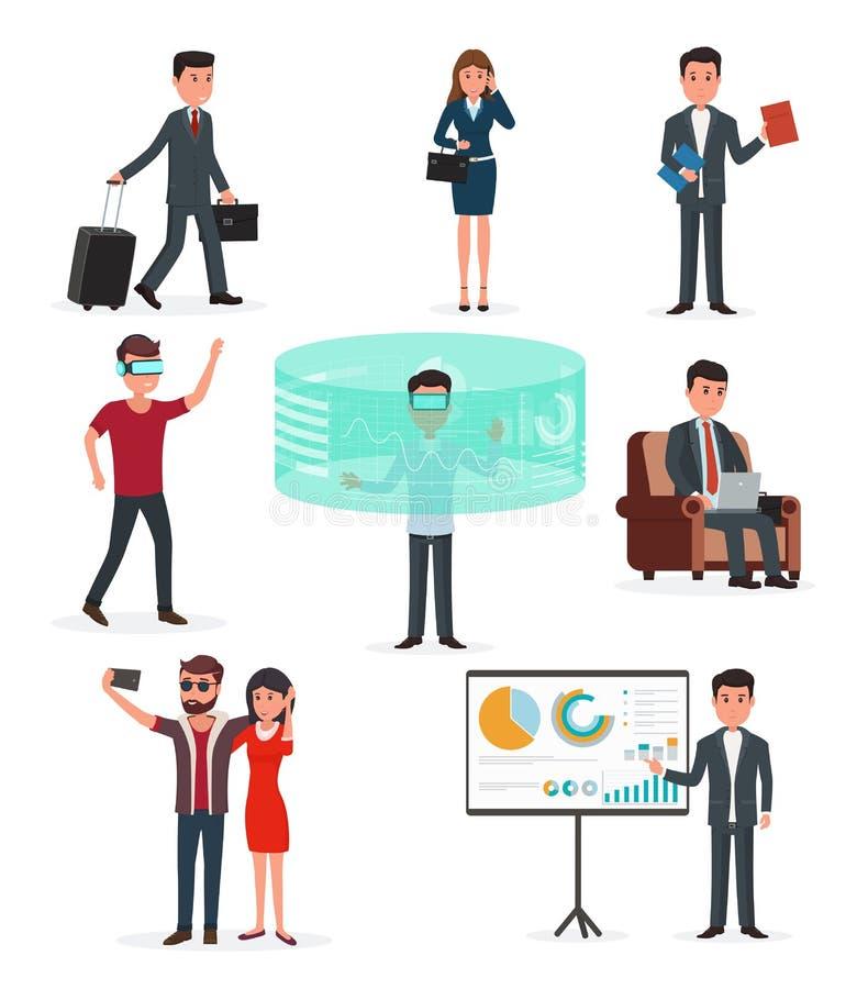 Εργασία ίδρυσης επιχείρησης Τεχνολογία και επιχείρηση εικονικής πραγματικότητας διανυσματική απεικόνιση