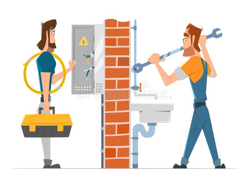 Εργασία ατόμων ηλεκτρολόγων και υδραυλικών Υπηρεσία επισκευής εγχώριων σπιτιών διανυσματική απεικόνιση