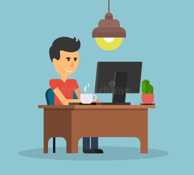 Εργασία ατόμων με το σχέδιο υπολογιστών επίπεδο ελεύθερη απεικόνιση δικαιώματος
