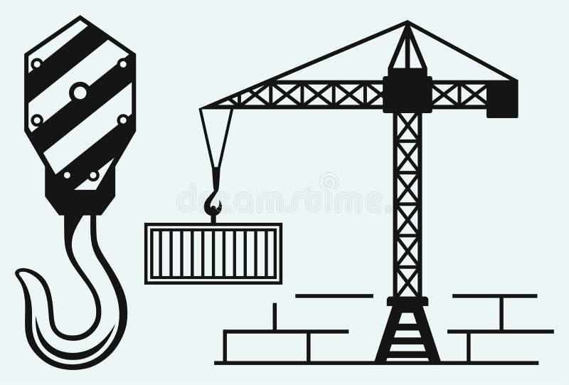 Εργασία γερανών και γάντζος ενός γερανού διανυσματική απεικόνιση