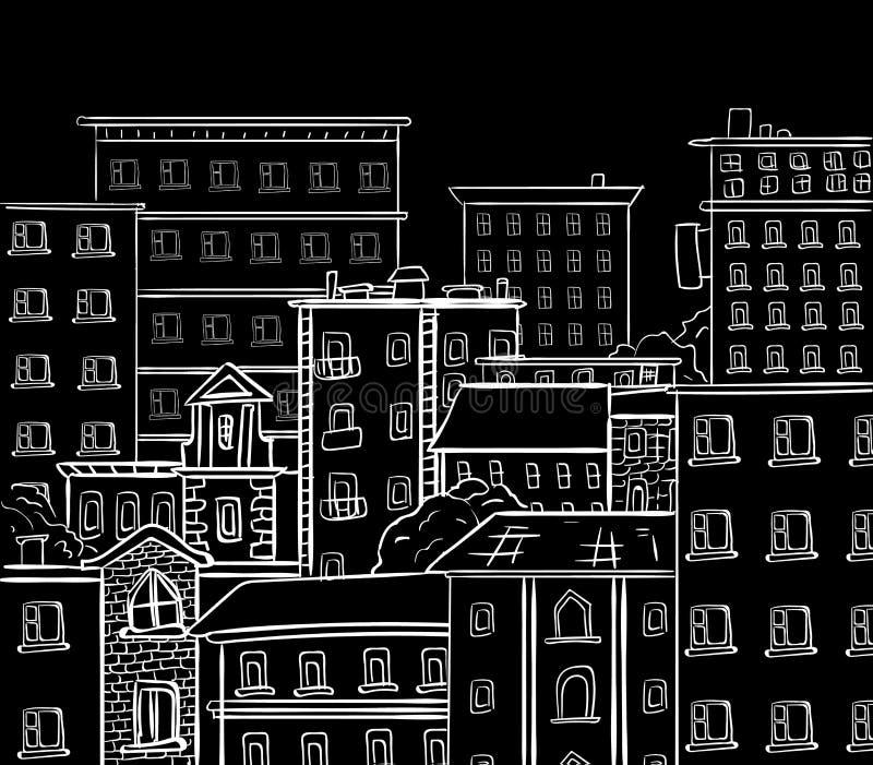 Εργασία γραμμών, doodle πόλη Άσπρες γραμμές στο μαύρο πίνακα κιμωλίας Διανυσματικό συρμένο χέρι σκίτσο διανυσματική απεικόνιση