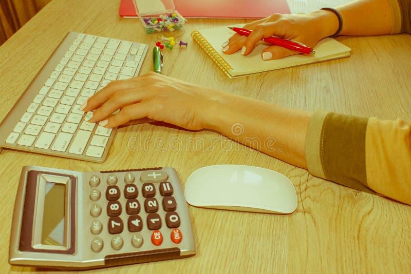 Εργασία γυναικών στην αρχή, καθμένος στο γραφείο, που χρησιμοποιεί τον υπολογιστή Γυναίκα ανώτατων στελεχών επιχείρησης στον εργα στοκ εικόνα