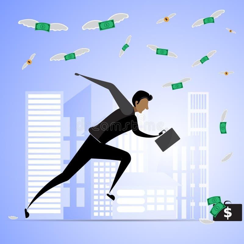 Εργασία εγκαίρως ή νεαρός άνδρας που τρέχει στη σύλληψη των πετώντας χρημάτων ελεύθερη απεικόνιση δικαιώματος