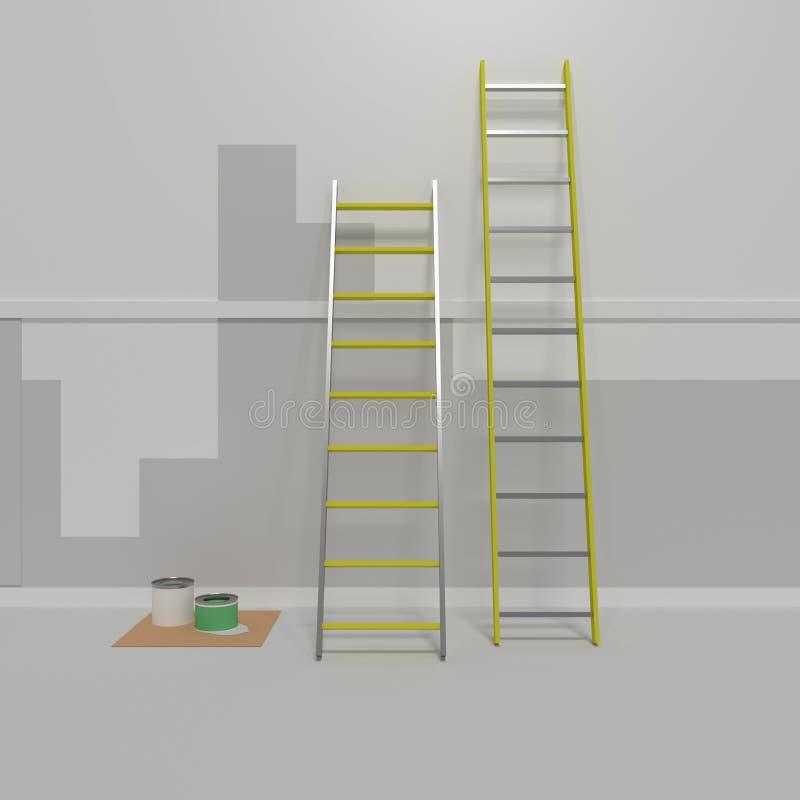 Εργασία επισκευής, ένα δωμάτιο που προετοιμάζεται για τη ζωγραφική Σκαλοπάτια αργιλίου τρισδιάστατος δώστε, τρισδιάστατη απεικόνι απεικόνιση αποθεμάτων