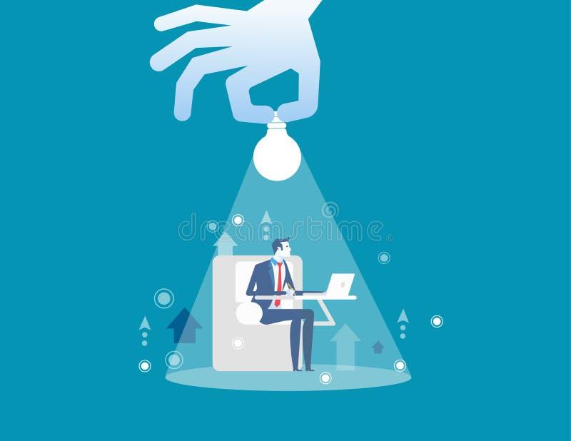 Εργασία επιχειρηματιών Επιχειρηματίας και φωτισμός εκμετάλλευσης χεριών Επιχειρησιακή διανυσματική απεικόνιση έννοιας απεικόνιση αποθεμάτων