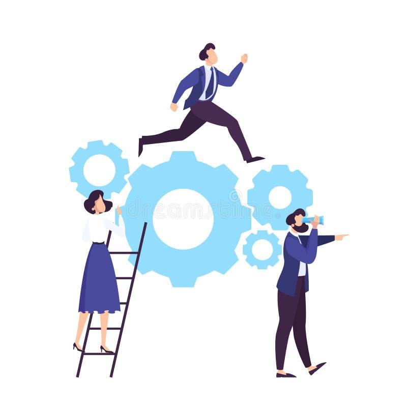 Εργασία επιχειρησιακών ομάδων από κοινού Ιδέα της συνεργασίας διανυσματική απεικόνιση