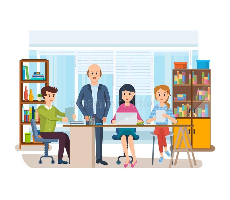 Εργασία επιχειρησιακών χαρακτήρων στην αρχή, επιχειρηματίας επιχειρησιακών ατόμων με τους συναδέλφους ελεύθερη απεικόνιση δικαιώματος