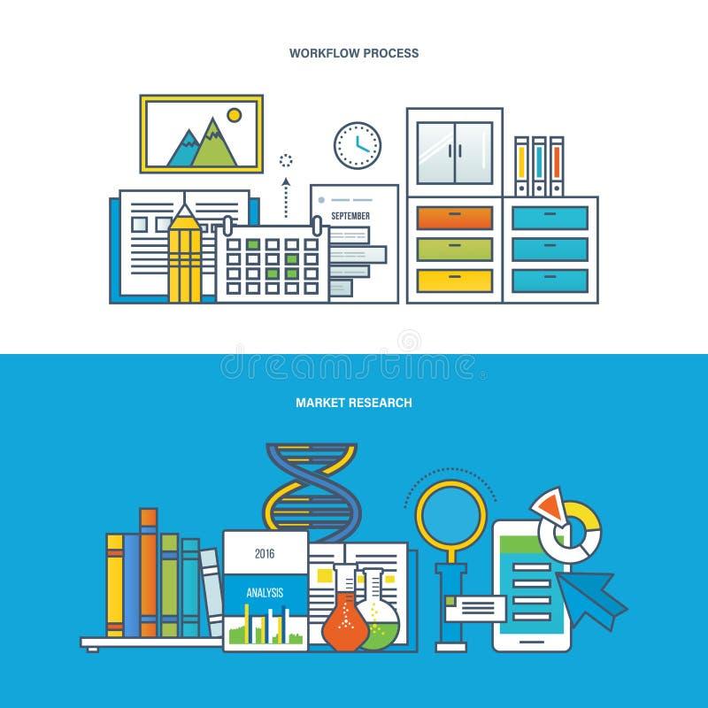 Εργασία, εργασιακός χώρος και ροή της δουλειάς, χρηματοδότηση, μάρκετινγκ, έρευνα, ανάλυση, επιχειρησιακός προγραμματισμός διανυσματική απεικόνιση