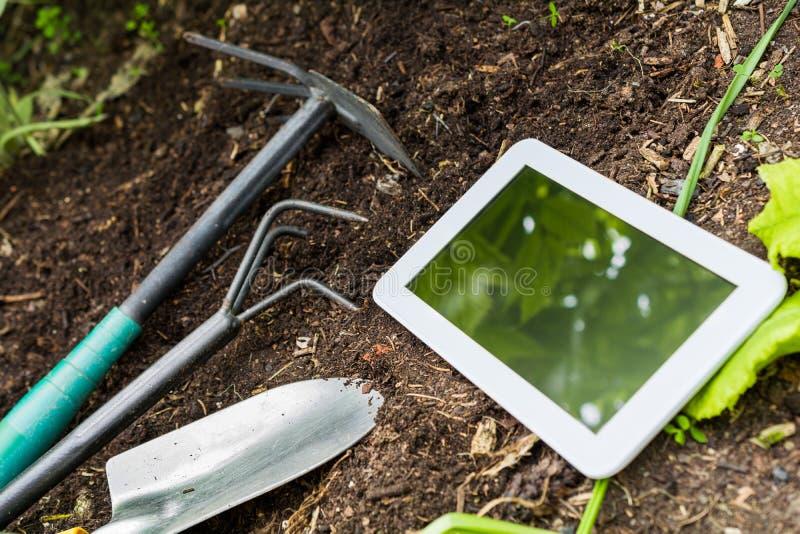 Εργασία κήπων με τα άσπρα εργαλεία επιχειρησιακών ταμπλετών και κηπουρικής στοκ φωτογραφία με δικαίωμα ελεύθερης χρήσης