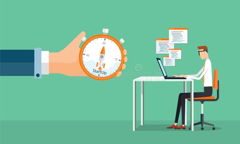 Εργασία και ξεκίνημα επιχειρησιακών ατόμων ανθρώπων στην επιχείρηση διανυσματική απεικόνιση