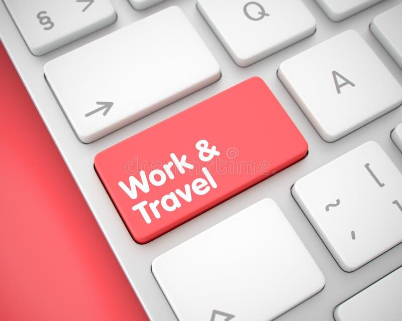 Εργασία και ταξίδι - μήνυμα στο κόκκινο κλειδί πληκτρολογίων τρισδιάστατος ελεύθερη απεικόνιση δικαιώματος