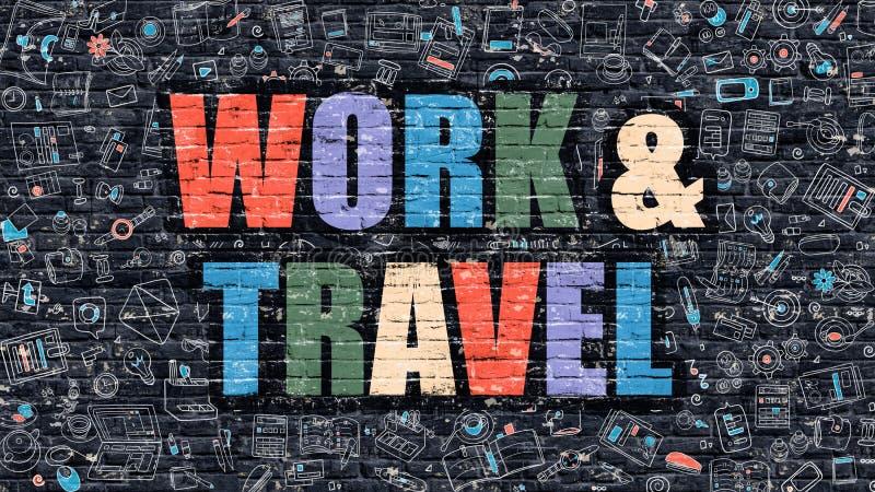 Εργασία και ταξίδι σε πολύχρωμο Σχέδιο Doodle διανυσματική απεικόνιση
