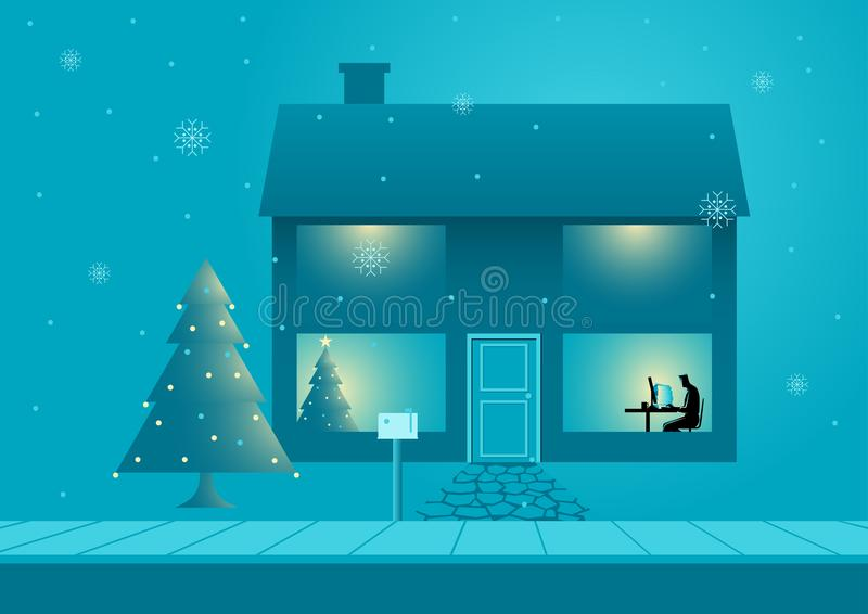 Εργασία κατά τη διάρκεια των Χριστουγέννων απεικόνιση αποθεμάτων