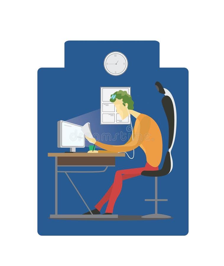 Εργασία μέχρι τη νύχτα διανυσματική απεικόνιση