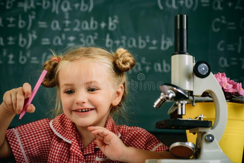 Εργασία μαθητριών με τον εργαστηριακό εξοπλισμό στη χημεία ή το μάθημα βιολογίας Μικρό κορίτσι με το μικροσκόπιο στο σχολείο στοκ εικόνες