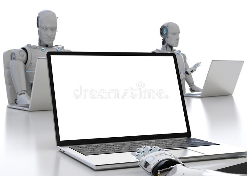 Εργασία ρομπότ για το σημειωματάριο απεικόνιση αποθεμάτων