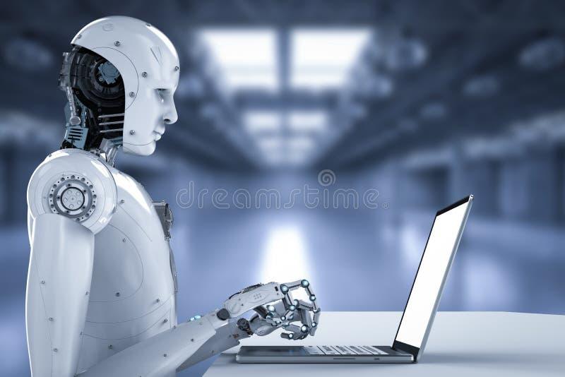 Εργασία ρομπότ για το lap-top διανυσματική απεικόνιση