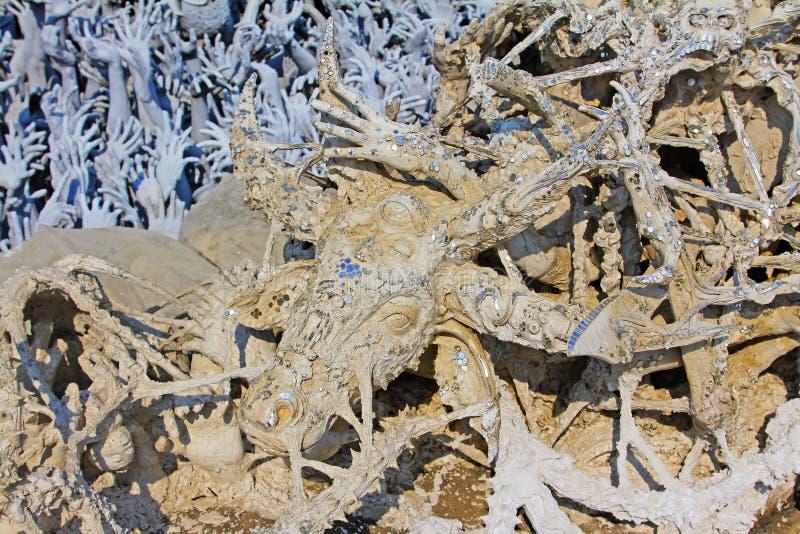 Εργασία τέχνης στον άσπρο ναό Wat Rong Khun, Chiang Rai, Ταϊλάνδη στοκ φωτογραφίες