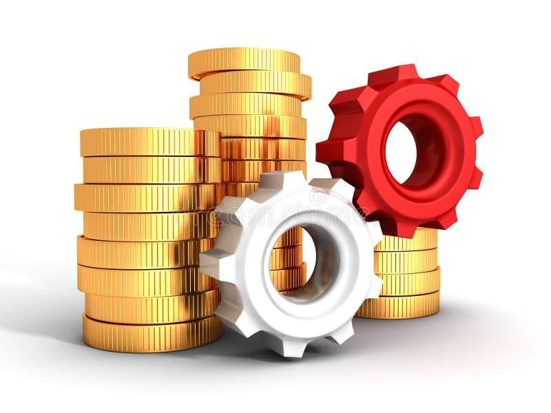 Εργασία χρημάτων. Χρυσά νομίσματα και εργαλεία έννοιας επιχειρησιακής χρηματοδότησης διανυσματική απεικόνιση