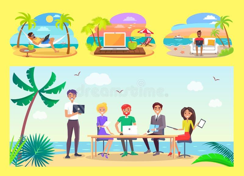 Εργασία Freelancers στον πίνακα γραφείων στην τροπική παραλία απεικόνιση αποθεμάτων
