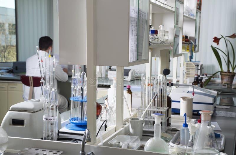 Εργασίες επιστημόνων στο χημικό εργαστήριο στοκ φωτογραφία με δικαίωμα ελεύθερης χρήσης
