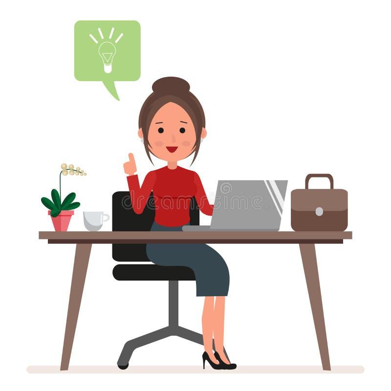 Εργασίες επιχειρηματιών ή γραμματέων στον υπολογιστή Μια γυναίκα έχει μια νέα ιδέα ή μια έμπνευση Επίπεδος χαρακτήρας που απομονώ διανυσματική απεικόνιση