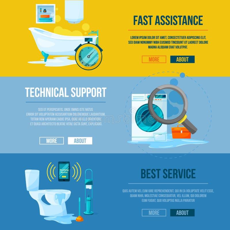 Εργασίες υδραυλικών Σωληνώσεις νερού τουαλετών, λουτρών και κουζινών Διανυσματικά οριζόντια εμβλήματα απεικόνιση αποθεμάτων