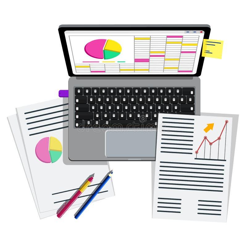 Εργασιακός χώρος για την επιχείρηση, τη διαχείριση και την ΤΠ Lap-top, κινητές προμήθειες τηλεφώνων, σημειωματάριων και γραφείων  απεικόνιση αποθεμάτων