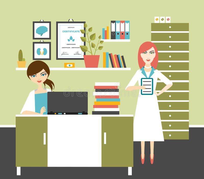 Εργασιακός χώρος γραφείων γιατρών και νοσοκόμων γυναικών απεικόνιση αποθεμάτων