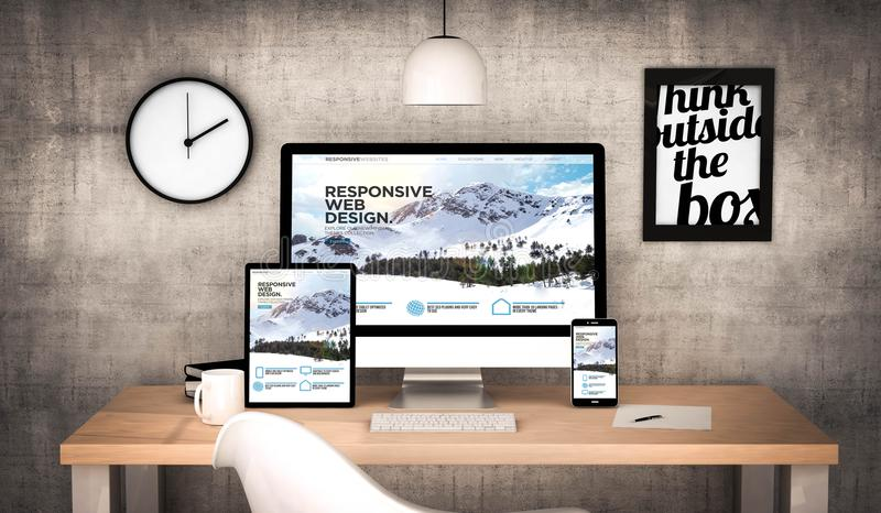 εργασιακός χώρος γραφείων με την απαντητική συλλογή συσκευών ιστοχώρων απεικόνιση αποθεμάτων