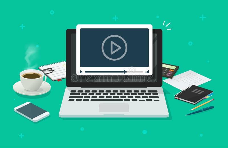 Εργασιακός χώρος και εργασία στο lap-top που προσέχει το video, έννοια της webinar, σε απευθείας σύνδεση κατάρτισης επιχειρήσεων, απεικόνιση αποθεμάτων