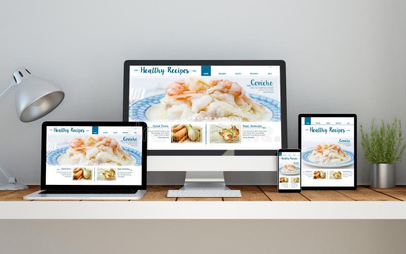 εργασιακός χώρος με τον υγιή σε απευθείας σύνδεση απαντητικό ιστοχώρο συνταγών στο devi στοκ εικόνα
