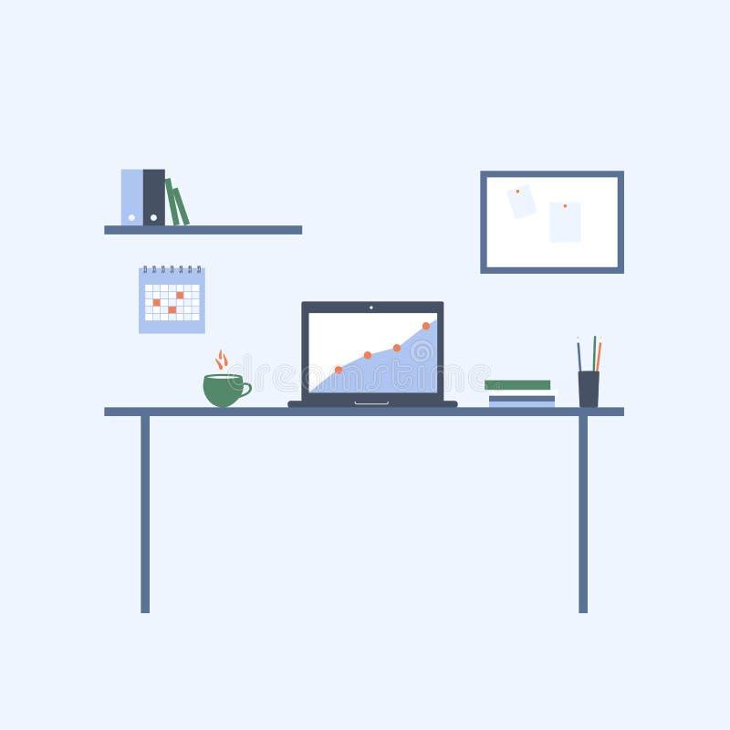 Εργασιακός χώρος σπιτιών και γραφείων Διανυσματική επίπεδη απεικόνιση διανυσματική απεικόνιση