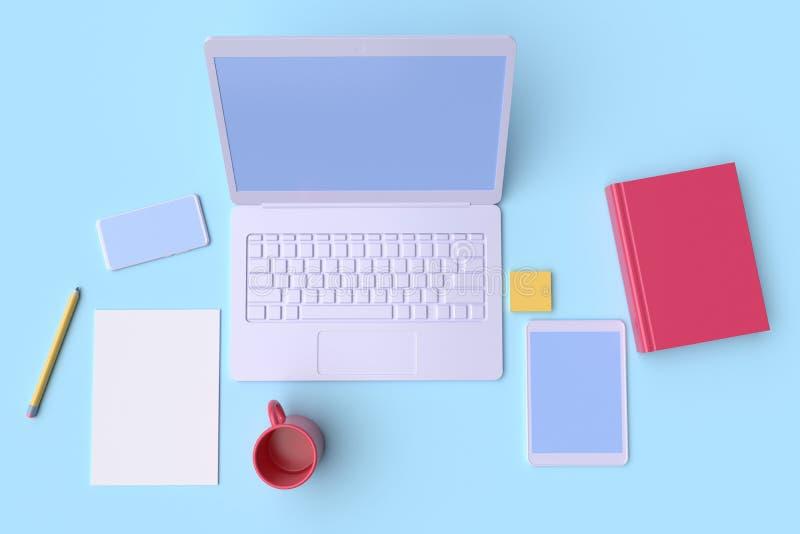 Εργασιακός χώρος στο γραφείο Άποψη επιτραπέζιων κορυφών r απεικόνιση αποθεμάτων
