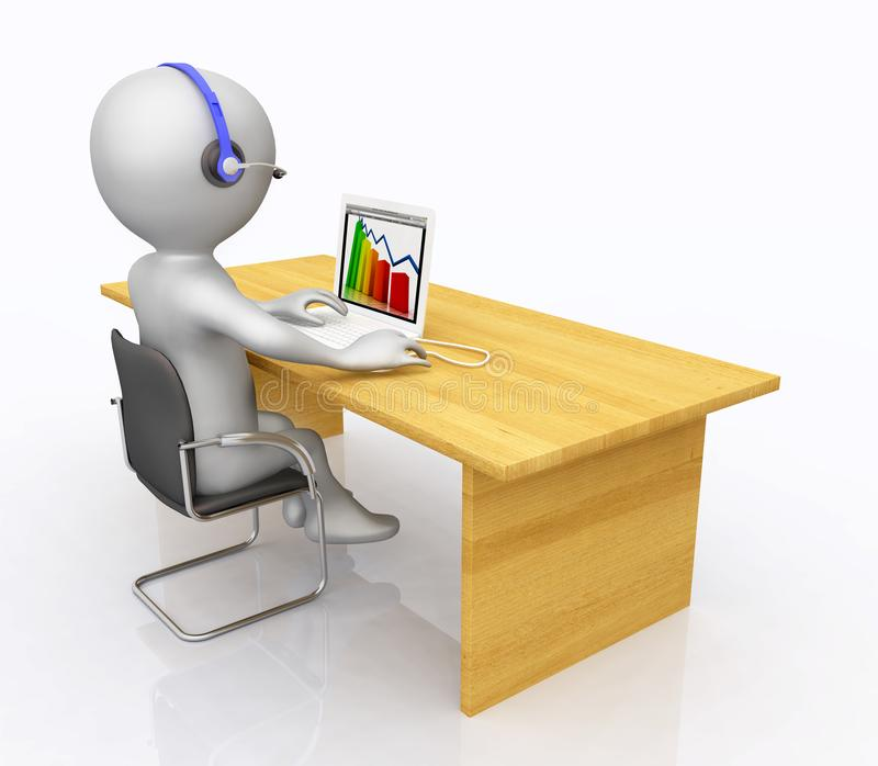 Εργασιακός χώρος στο τηλεφωνικό κέντρο με τον τρισδιάστατο αριθμό ελεύθερη απεικόνιση δικαιώματος