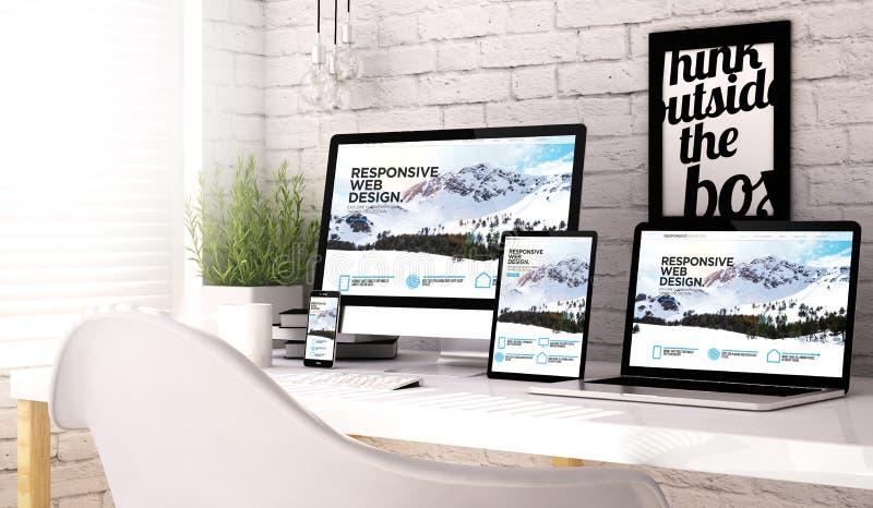 Εργασιακός χώρος συλλογής συσκευών με τον απαντητικό ιστοχώρο απεικόνιση αποθεμάτων