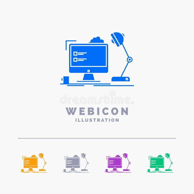 εργασιακός χώρος, τερματικός σταθμός, γραφείο, λαμπτήρας, υπολογιστής 5 πρότυπο εικονιδίων Ιστού Glyph χρώματος που απομονώνεται  ελεύθερη απεικόνιση δικαιώματος