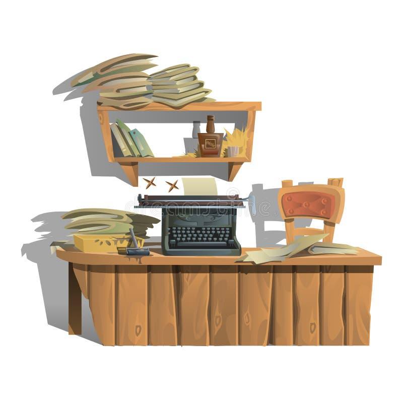 Εργασιακός χώρος του συγγραφέα με τη γραφομηχανή και τα βιβλία διανυσματική απεικόνιση