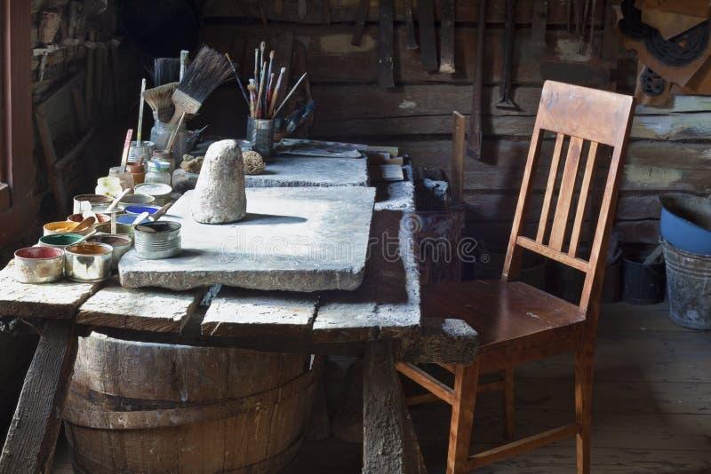 Εργαστήριο καλλιτέχνη εκατό έτη πριν στοκ εικόνες