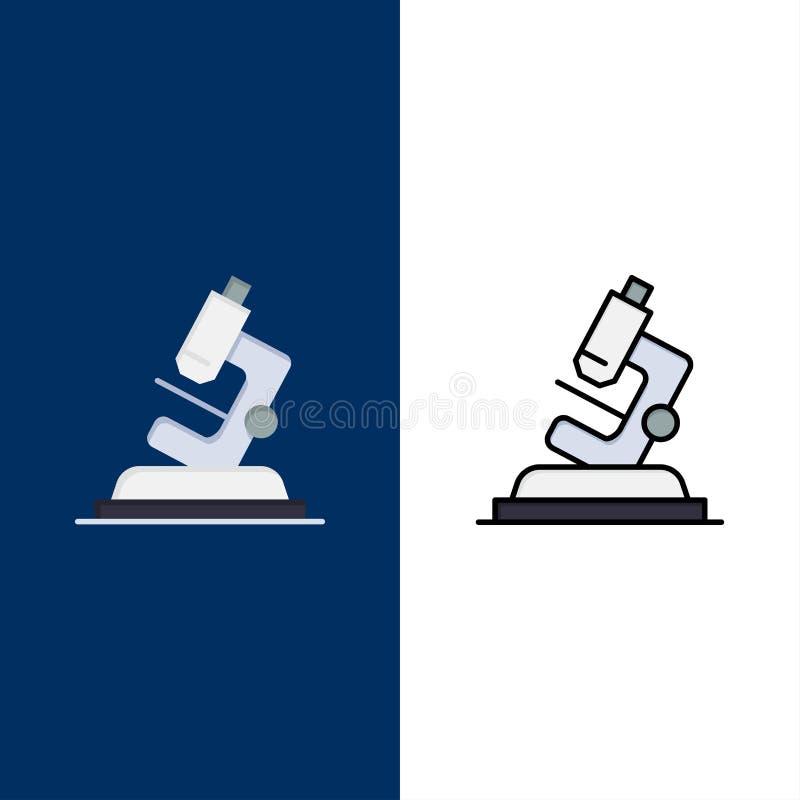 Εργαστήριο, μικροσκόπιο, επιστήμη, εικονίδια ζουμ Επίπεδος και γραμμή γέμισε το καθορισμένο διανυσματικό μπλε υπόβαθρο εικονιδίων ελεύθερη απεικόνιση δικαιώματος