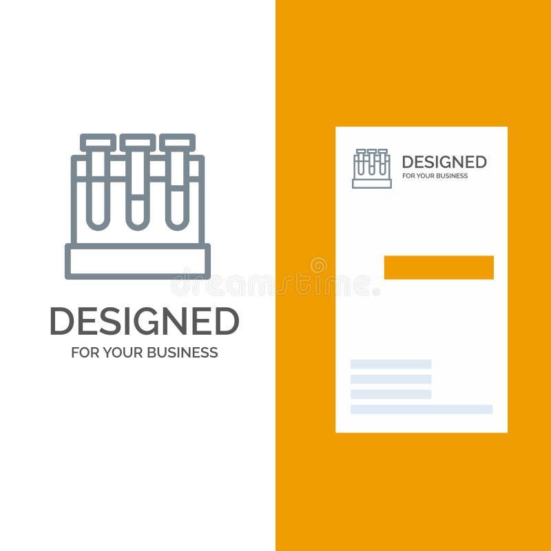 Εργαστήριο, σκάφες, δοκιμή, γκρίζο σχέδιο λογότυπων εκπαίδευσης και πρότυπο επαγγελματικών καρτών ελεύθερη απεικόνιση δικαιώματος