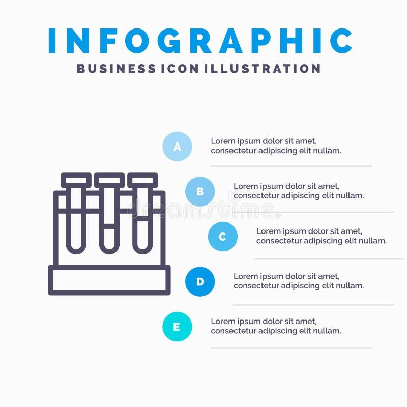 Εργαστήριο, σκάφες, δοκιμή, εικονίδιο γραμμών εκπαίδευσης με το υπόβαθρο infographics παρουσίασης 5 βημάτων ελεύθερη απεικόνιση δικαιώματος