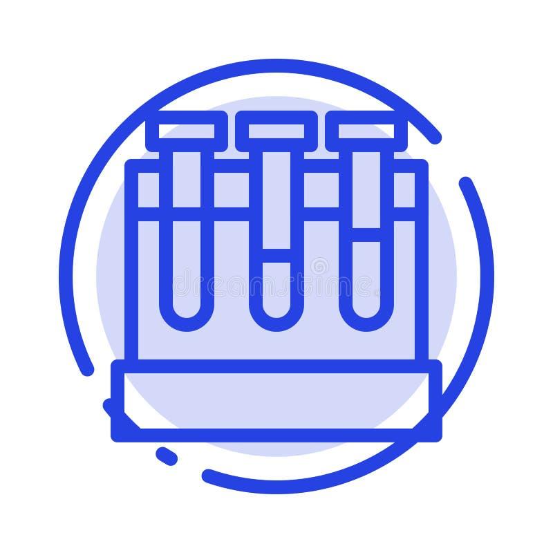 Εργαστήριο, σκάφες, δοκιμή, μπλε εικονίδιο γραμμών διαστιγμένων γραμμών εκπαίδευσης ελεύθερη απεικόνιση δικαιώματος
