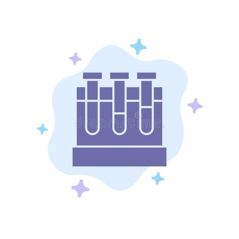 Εργαστήριο, σκάφες, δοκιμή, μπλε εικονίδιο εκπαίδευσης στο αφηρημένο υπόβαθρο σύννεφων διανυσματική απεικόνιση