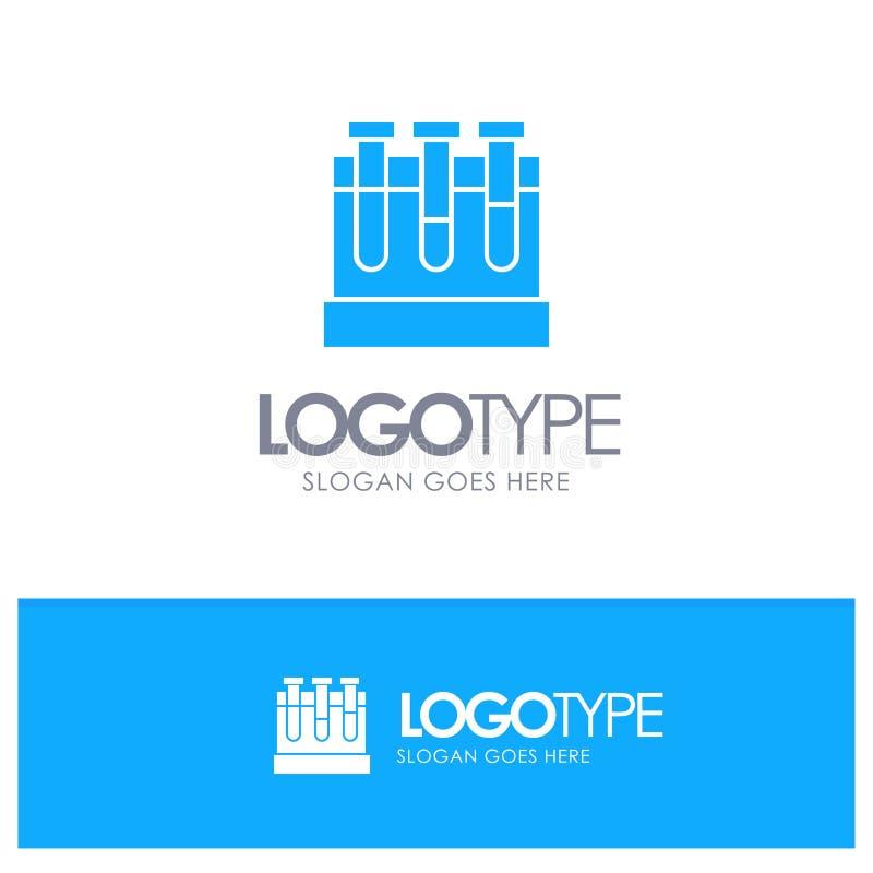 Εργαστήριο, σκάφες, δοκιμή, μπλε στερεό λογότυπο εκπαίδευσης με τη θέση για το tagline διανυσματική απεικόνιση