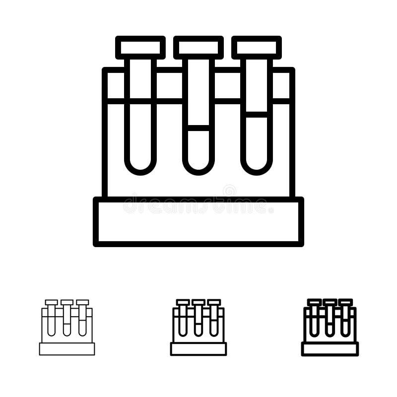 Εργαστήριο, σκάφες, δοκιμή, τολμηρό και λεπτό μαύρο σύνολο εικονιδίων γραμμών εκπαίδευσης διανυσματική απεικόνιση