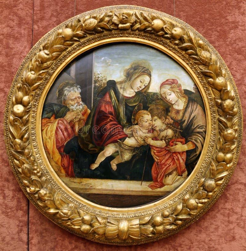 Εργαστήριο Filippino Lippi: Οικογένεια του ST με το ST John και Elizabeth στοκ εικόνα με δικαίωμα ελεύθερης χρήσης